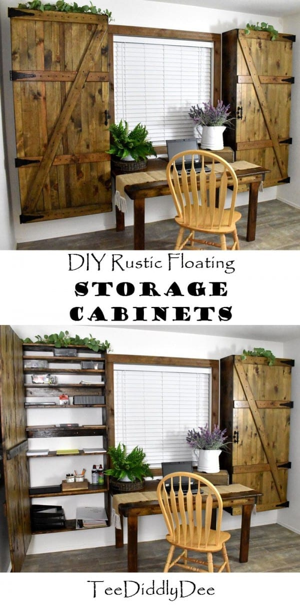 Diy Rustic Floating Storage Cabinets Country Farmhouse Mudroom